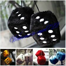 Large Pair Home office Car Truck Rear View Mirror Soft Plush Fuzzy Hanging Dice