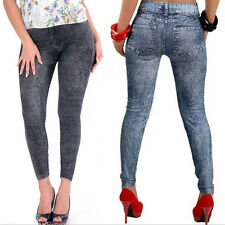 2015 Sexy Fashion Women Blue Skinny Jeggings Stretchy Soft Leggings Pant Jeans