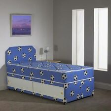 3FT Single BOYS BLUE Football Divan Bed+Mattress - FREE HEADBOARD - With Storage