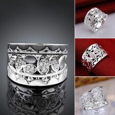 Brand New Natural Crystal Zircon Silver Plated Ring R570 Wedding Size 7/8