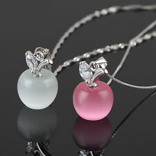 Fashion Womens Silver Plated Necklace Charm Small Apple Opal Pendant Necklace