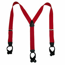 New CTM Mens 1.5 Inch Elastic Button End Y-back Dress Suspenders (Tall Available