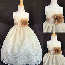 Ivory Lace Champagne Detail Flower Girl Dress ALL SIZES Wedding Holiday #003