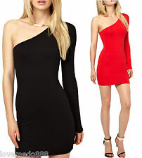 Womens Sexy club Party Casual One Shoulder Stretch Tight Slim Fit Bodycon Dress