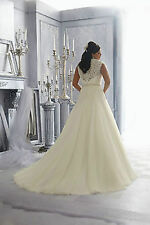 Plus Size New White/Ivory Wedding Dress Bridal Gown Custom Size 10-12-14-16-18++