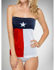 Texas State Flag Womens Girls Juniors Tube Top Bikini Cover Up T-Shirt S-XL