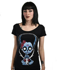 Akumu Ink Womens Pronghorn Catrina Black Scoop Neck T Shirt Day of the Dead