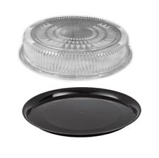 """12"""" Black Round Flat Disposable Catering Party Tray Food Platter +Clear Dome Lid"""
