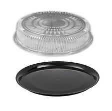 "16"" Black Round Flat Catering Serving Party Tray Food Platter + Clear Dome Lid"