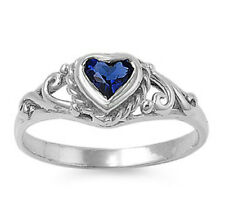 .925 Sterling Silver BABY HEART DESIGN BLUE SAPPHIRE CZ RING-AVAILABLE 1,2,3,4,5