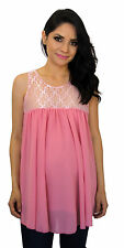 Pink Maternity Sleeveless Chiffon Lace Maternity Pregnancy Top  S M L XL