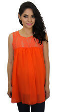 Orange Maternity Sleeveless Chiffon Lace Maternity Pregnancy Top  S M L XL