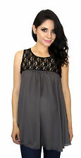 Gray Black Maternity Sleeveless Chiffon Lace Maternity Pregnancy Top  S M L XL