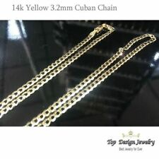 Solid 14K Yellow Gold Cuban Link Curb Chain Necklace 3.2 mm 16,18,20,22,24 in