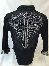 Mens Victorious BIG Cross Wings Stones Button Down Shirt Black Roar Wt Style 435
