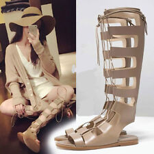 New Womens Lace Up Roman Gladiator Knee High Sandals Boots Flat Heel Party Shoes