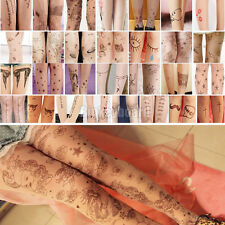 Sexy Lady  Women Tattoo Pattern Transparent Socks Tights Pantyhose Stockings