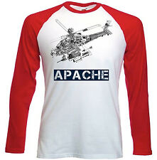 APACHE HELICOPTER INSPIRED - RED SLEEVED TSHIRT- S-M-L-XL-XXL