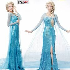 FROZEN STYLE ADULT  PRINCESS ELSA COSPLAY DRESS PARTY FANCY COSTUME  921