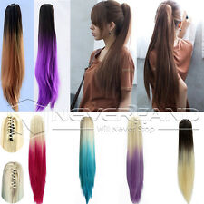 """20"""" Claw/Clip in Gradient Pony tail Ponytail Hair Extension Smooth Straight Hair"""