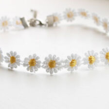 Daisy Chain Choker Necklace - White & Yellow Lace Flower 90s 1990s Festival Chic