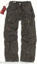 SURPLUS INFANTRY CARGO PANTS MENS VINTAGE ARMY BAGGY COMBAT TROUSER WASHED BLACK