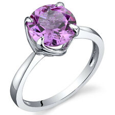 Sublime Solitaire 2.50 cts Pink Sapphire Ring Sterling Silver Size 5 to 9
