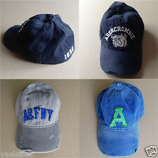 Abercrombie & Fitch A&F Hollister Mens Baseball Hat Cap Distressed AUTHENTIC S/M
