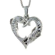 "Sterling Silver Heart-Shaped Fish Pisces Pendant / Charm, 18"" Italian Box Chain"