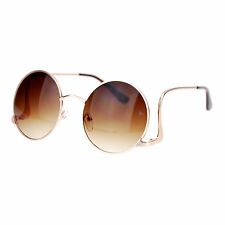 Womens Vintage Fashion Sunglasses Round Circle Frame Low Rise Temple