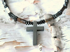 Men's Powerful Magnetic Hematite CROSS NECKLACE PIETERSITE STRONG Free Shipping