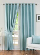 Duck egg blue faux silk satin diamante lined curtains eyelet ring top elegant