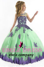 2015 Green Flower Girl Dress Kids Dance Party Pageant Gown Stock Size 6 8 10 12