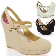 Women Round Toe Cut Out Mary Jane Platform Wedge High Heel Pump Shoe Size 5-10