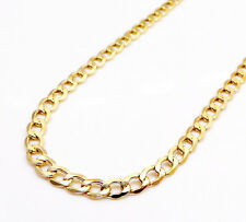 """18-24"""" 4.5mm 10k Yellow REAL Gold Miami Cuban Curb Lite Chain Necklace Mens"""
