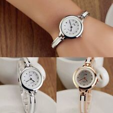 Womens Ladies Fashion Gold Silver Round Quartz Analog Dress Bracelet Wrist Watch