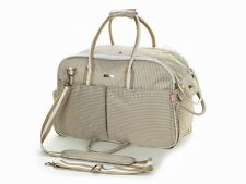 Khaki Oxford Stripe Dog Carriers Bag Puppy Totes Bag Pet Totes Purse Cat Handbag