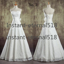 New White/Ivory lace Bridal Gown Wedding Dress Stock Size 6 8-10-12-14-16