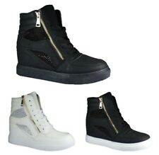 WOMENS SPORTS WEDGE TRAINERS LADIES HIGH TOP ANKEL  STUDDED DIAMANTE  SIZES 3-8