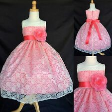 Ivory Lace Flower Girl Dress Coral Easter Vintage Toddler Summer Floral #02