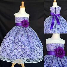 Ivory Lace- Flower Girl Bridesmaid Dress Purple Lining ALL SIZES Easter Birthday