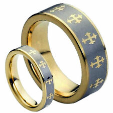 His & Her's 8MM/5MM Tungsten Carbide Gold with Crosses Wedding Band Ring set