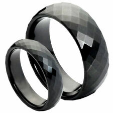 His & Her's 8MM/6MM Tungsten Carbide Black Facet Cut Wedding Band Ring set