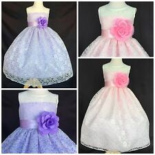 Ivory Lace Flower Girl Bridesmaid Dress ALL SIZES Lilac/Pink Easter Summer
