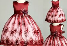 Flower Girl Bridesmaid Burgundy Embroidery Dress ALL SIZES Recital Holiday Party