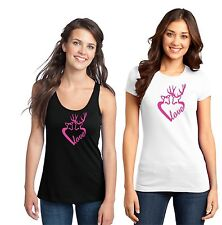 Deer Heart Tank Top T Shirt Pink Camo Hunt Cowboy Buck Girl Lady Country Love