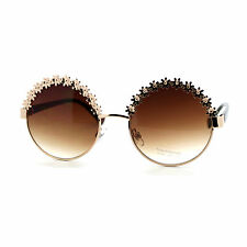 Vintage Flower Top Round Circle Frame Womens Fashion Sunglasses