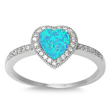 Sterling Silver 925 HEART DESIGN BLUE LAB OPAL ENGAGEMENT RING 10MM SIZES 5-10