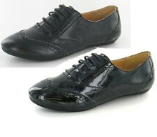 SALE LADIES SPOT ON LACE UP ROUND TOE SYNTHETIC FLAT CASUAL BROGUE SHOES F8658