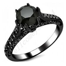 Size 5-10 Black Crystal Band Women's Jewelry 10Kt Black Gold Filled Wedding Ring